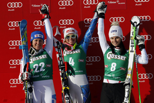 Podium descente dames St-Anton 2013