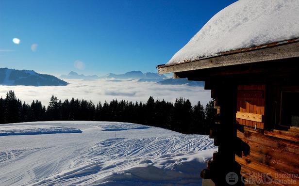 Ambiance hivernale sur le domaine skiable de St Gervais
