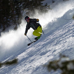 Tester, Harper Phillips gettin after it on day 3, all-mountain skis. - © Cody Downard Photography