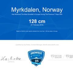 Snowiest Resort of the Week - 5. týden: Vítězem je norský Myrkdalen - © Skiinfo