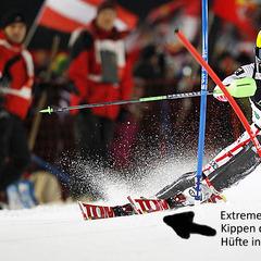 Marcel Hirscher zeigt, wie man die Ski zum Aufkanten bringt - © Alexis BOICHARD/AGENCE ZOOM