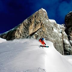Powder skiing among the craggy peaks of the Dolomites - © Matthias Fredriksson