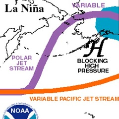 La Nina generally forces the jet stream to take a more northern track from the Pacific Ocean through the U.S. This increases the chance of snow across the Pacific Northwest states like Washington and Oregon and also can decrease snowfall across southern s