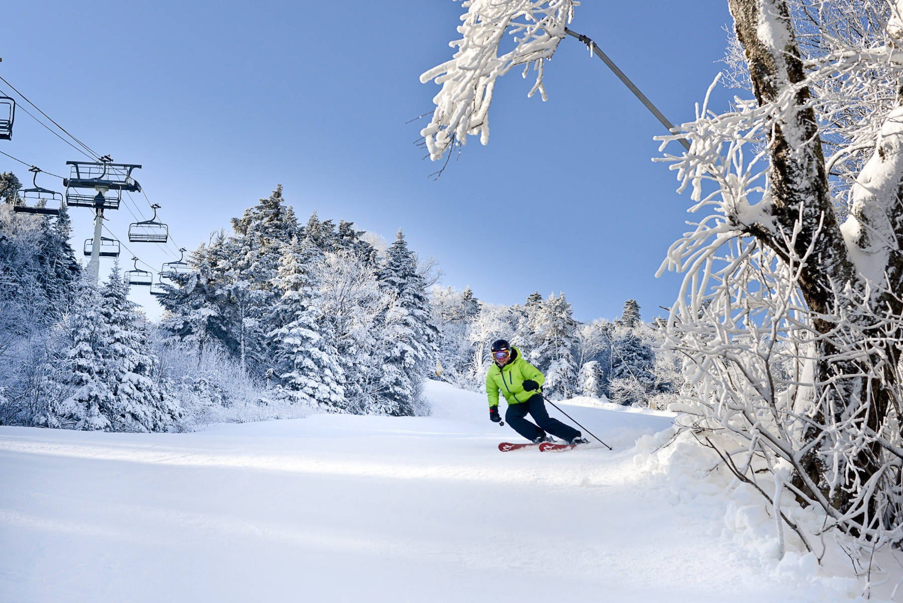 Perfect turns at Stratton. Photo: Hubert Schreibl / Courtesy of Stratton Mountain.undefined