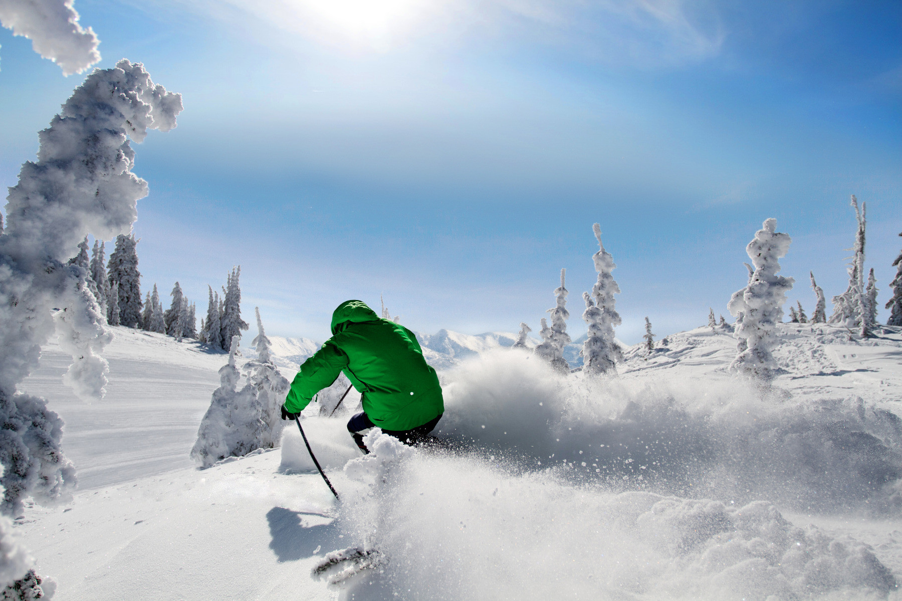 A bluebird powder day at Silver Star. Photo by Rowan Thornton, courtesy of Silver Star Mountain Resort.undefined
